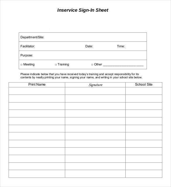 basic inservice sign in sheet