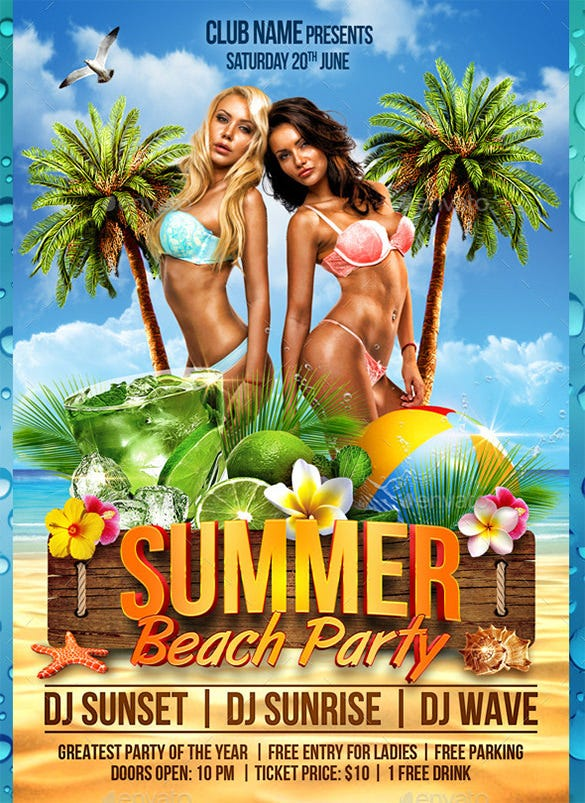 beach flyer psd template 6