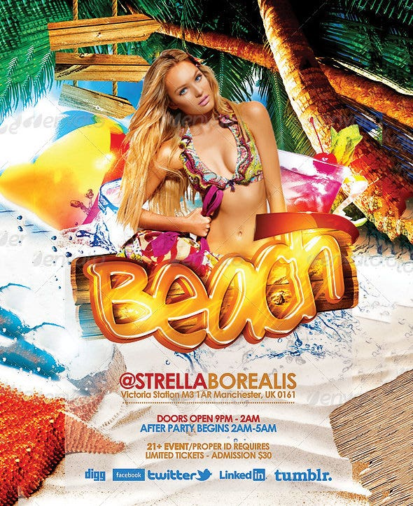 15 Beach Flyer Templates PSD EPS Files Download – Beach Party Flyer Template