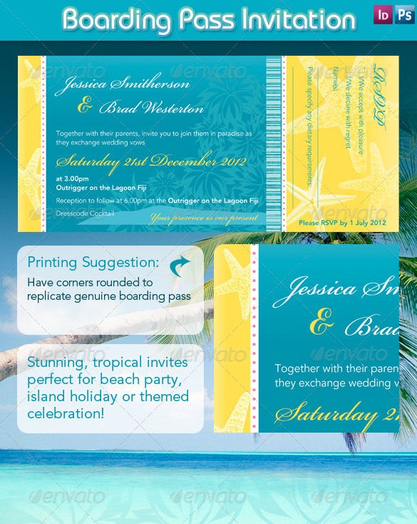 beach style boarding pass invitation design