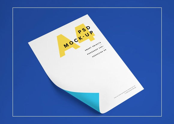 beautiful a4 paper psd mockup
