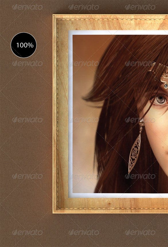 beautiful classic girl in poster frame mockup