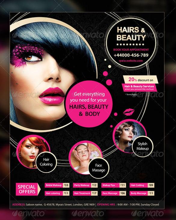 Makeup Flyer Templates Free Mugeek Vidalondon – Hair Salon Flyer Template