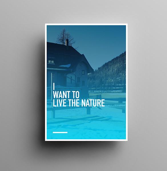 beautiful mountain poster design mockup