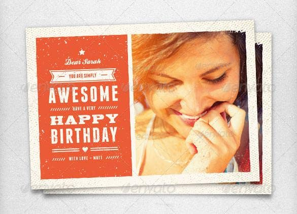 beautiful vintage birthday card psd eps format