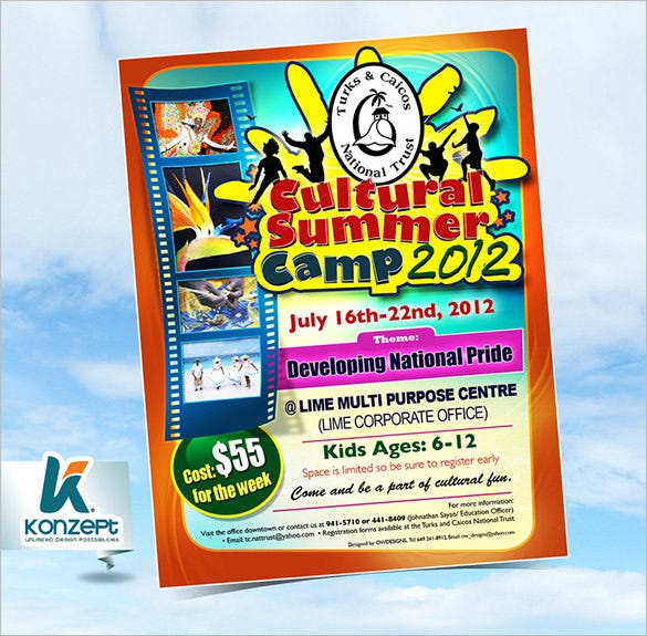 beautifully designed summer camp flyer template