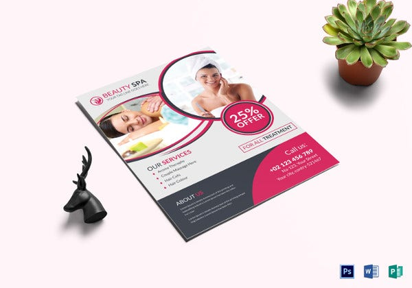 beauty spa saloon flyer photoshop template