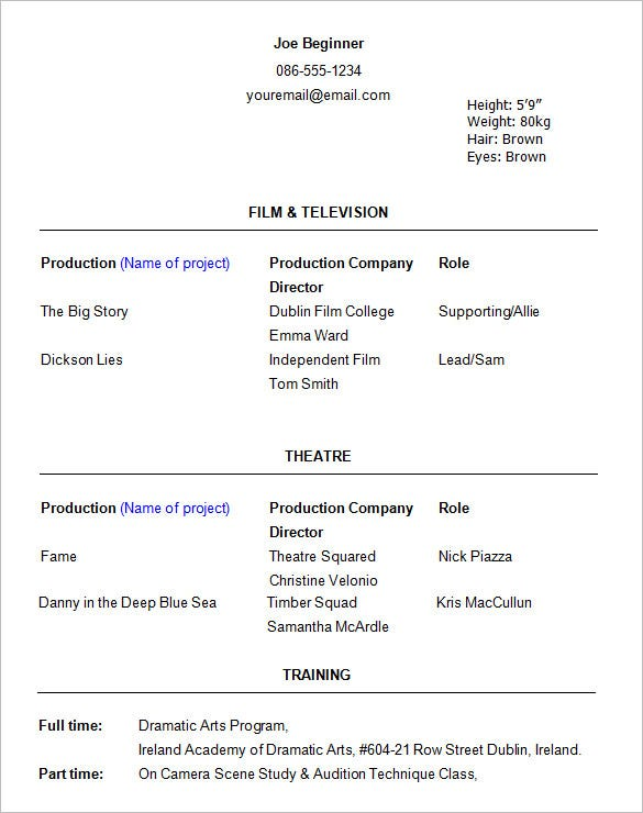 beginner acting resume template details file format