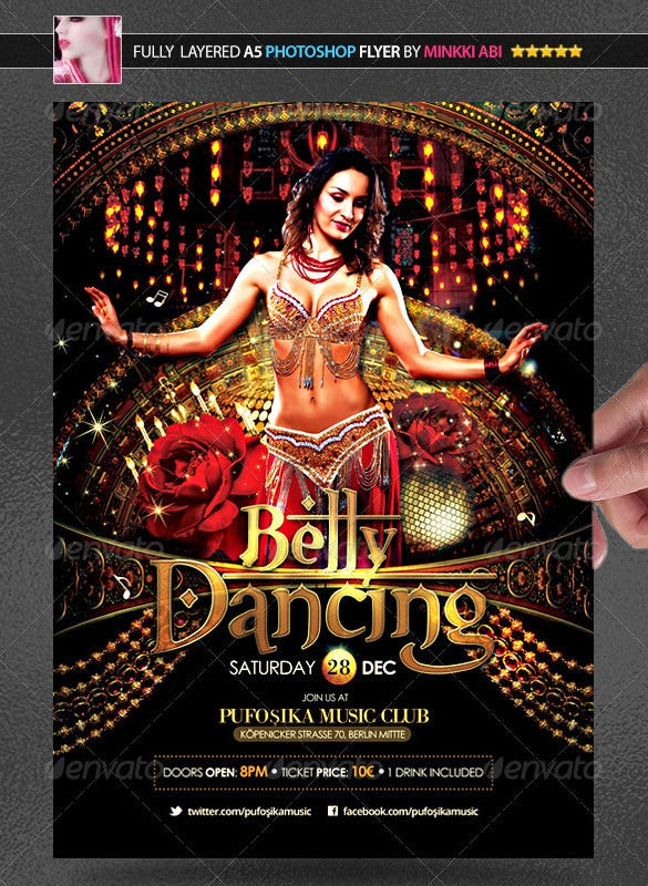 belly dancing poster psd download