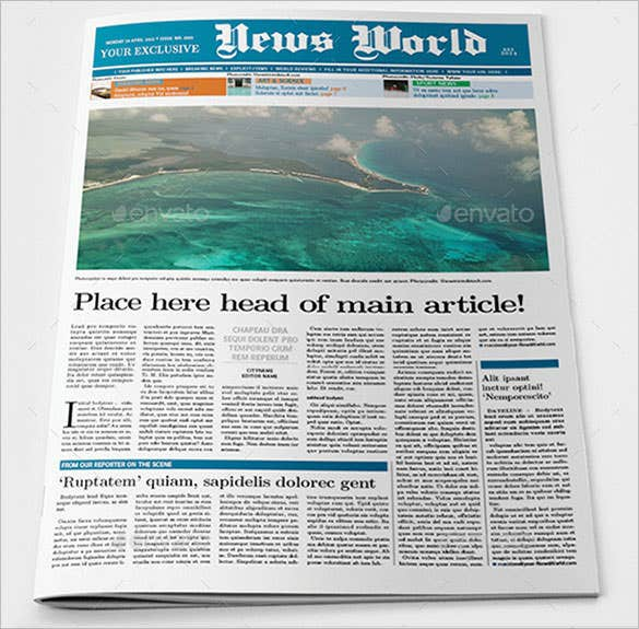 Newspaper Article Templates  Free Sample Example Format