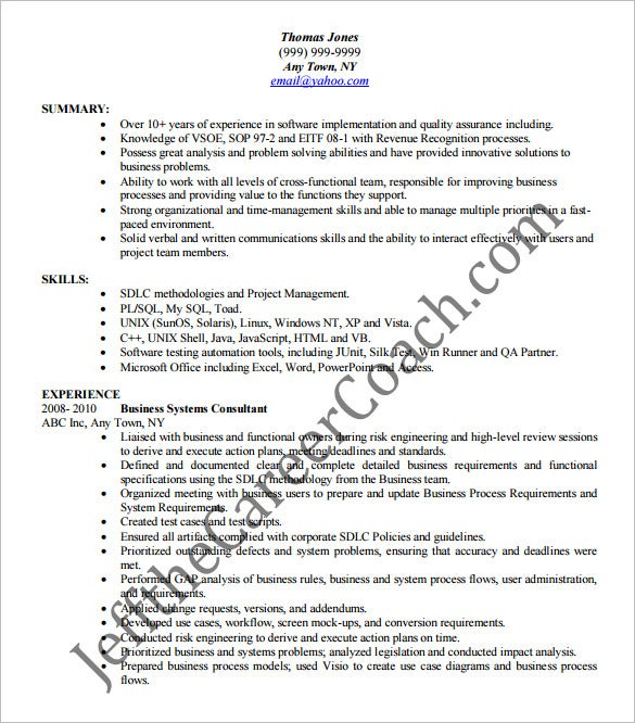 business analyst resume template word microsoft example best
