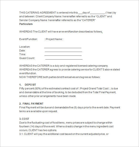 6 Catering Contract Templates Free Word PDF Documents – Catering Quote Template