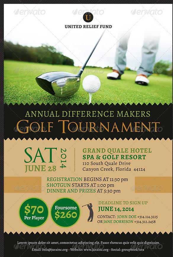 Golf Tournament Flyer Template | TeamTracTemplate's
