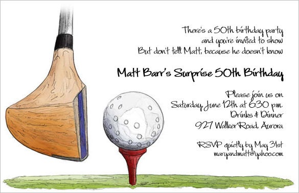 best golf driver party invitations template