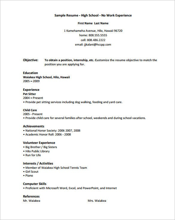 highschool resume template