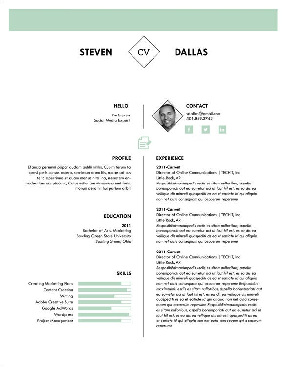 one page cv template download