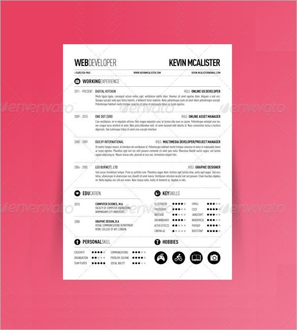 clean one page web developer resume template free do cv doc wordpress
