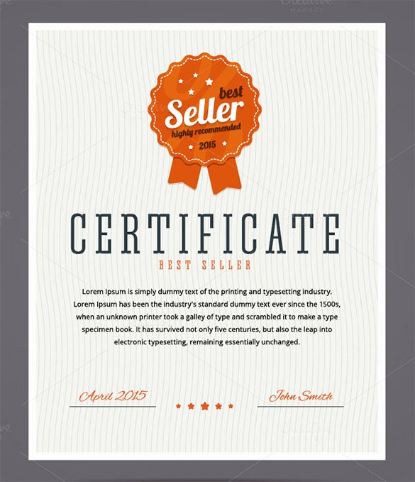 top seller certificate templates - 33 fabulous achievement certificate templates designs
