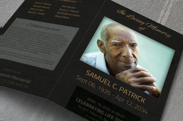 bifold psd obituary template