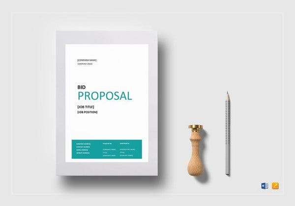 bid proposal word template to print