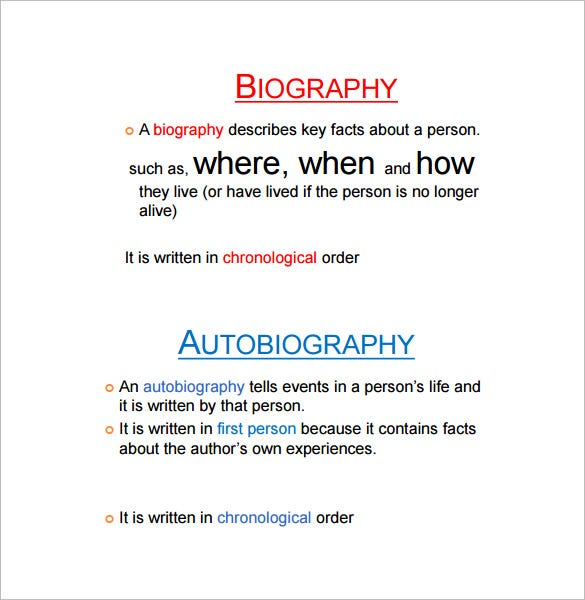 Autobiography Outline Templates  Samples  Doc Pdf  Free  Biography  Autobiography Difference Template In Pdf Format
