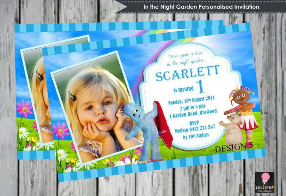 13 Printable PSD Garden Party Invitation Templates Designs – In the Night Garden Birthday Invitations