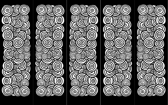 black white circles bookmark template free