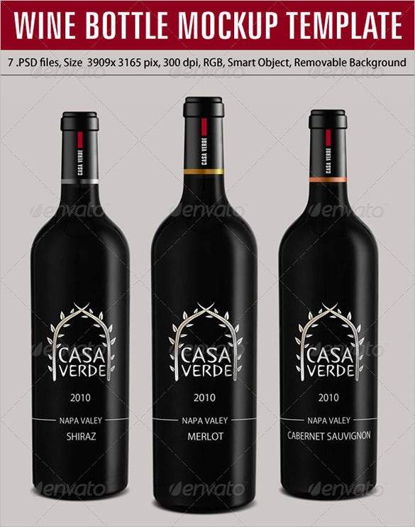 black wine bottle psd mockup templates