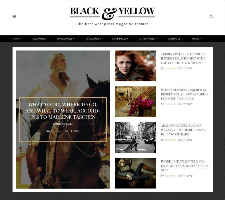 black yellow html5 magazine template 788x701