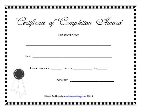 blank certificate of completion award