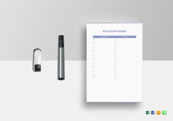 blank checklist excel template