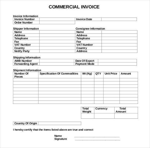 blank commercial invoice template sample download1