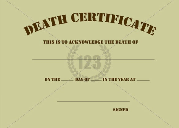 blank death certificate template sample