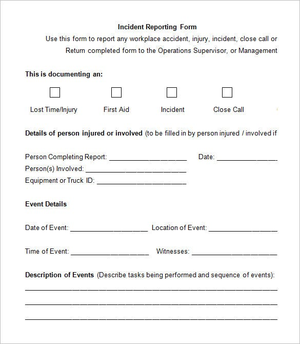 5 Employee Incident Report Templates Free PDF Word Documents – Incident Report