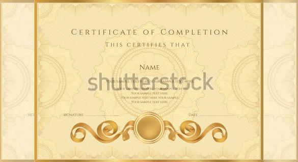 blank gold background achevement certificate