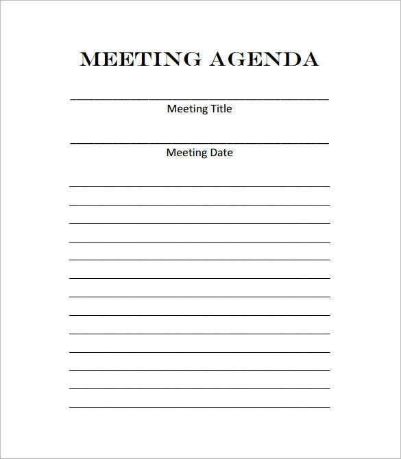 Blank Meeting Agenda Form Template Download  Meeting Outline Template