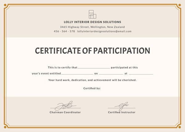 Blank Participation Certificate Template  Free Certificate Of Participation Template