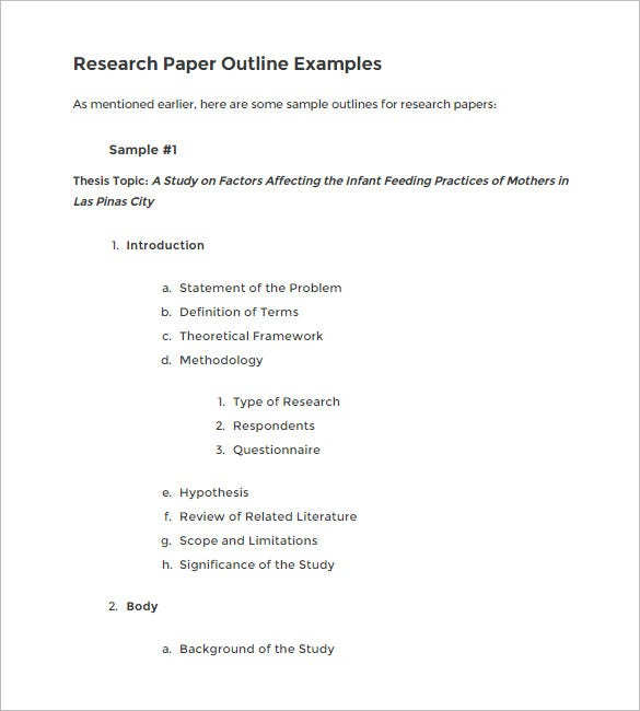 outline for research paper example