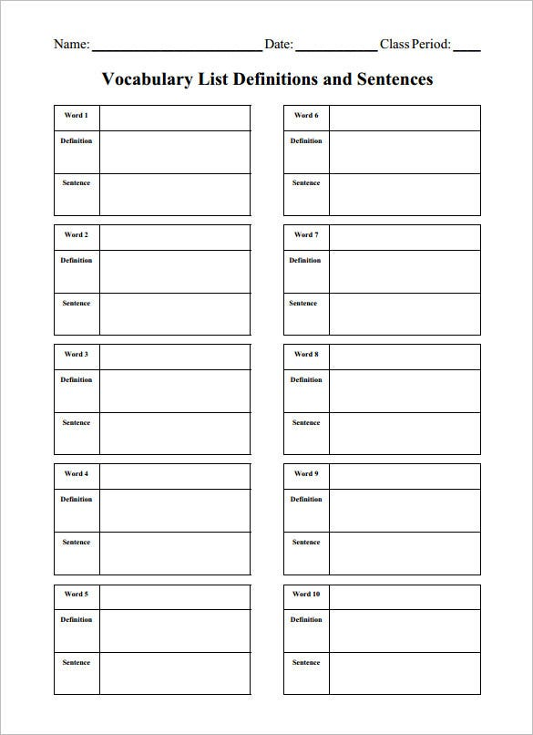 Blank Vocabulary Worksheet Templates  Free Word Pdf Documents