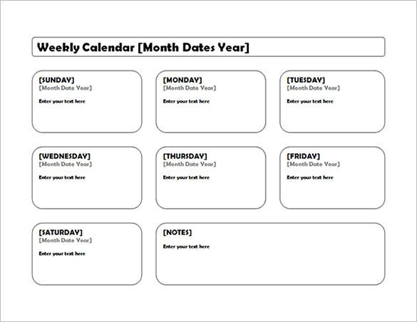 Blank Weekly Calendar Template Download  Monthly Calendar Word Template