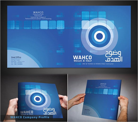 blue amazing brochure template for construction company