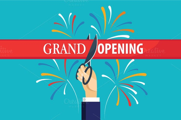 Grand opening flyer template 43 free psd ai vector eps format blue background grand opening flyer template stopboris Choice Image