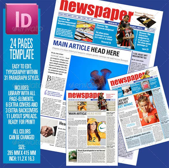 blue background newspaper article example template download
