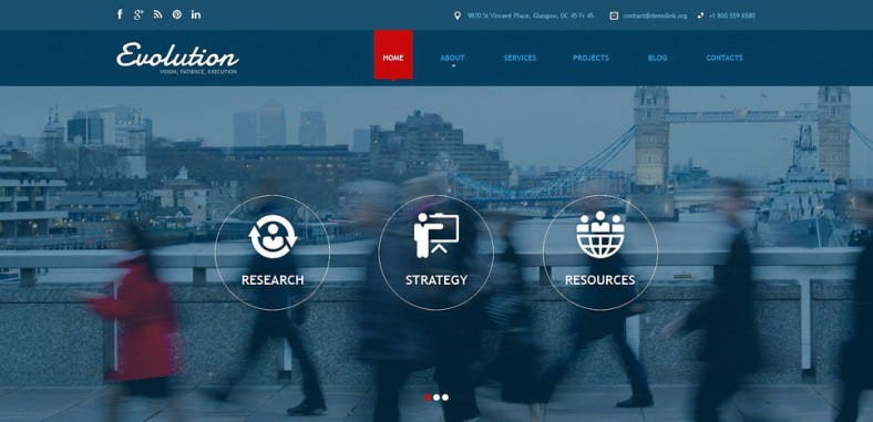 Blue Color Joomla Theme for Management Services