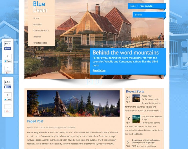 BlueDream Real Estate Wordpress Theme Free Downlaod