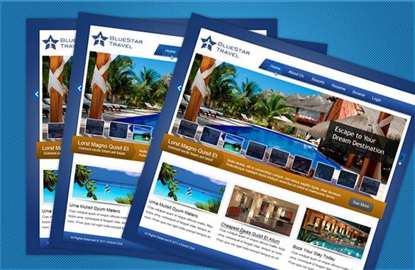 bluestar travel free psd website template