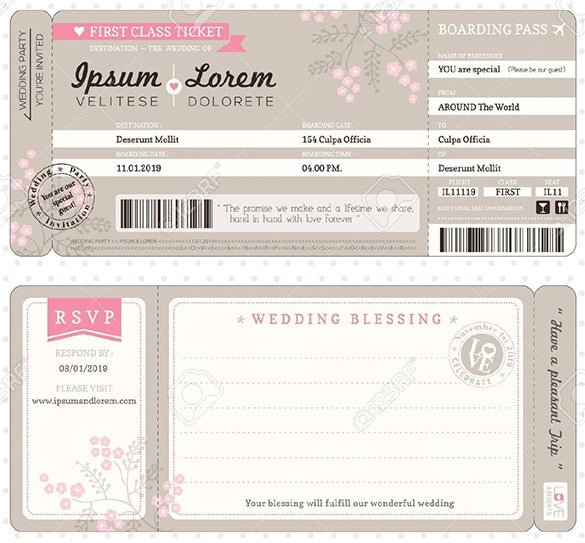 Boarding Pass Ticket Invitation Template Design  Plane Ticket Invitation Template