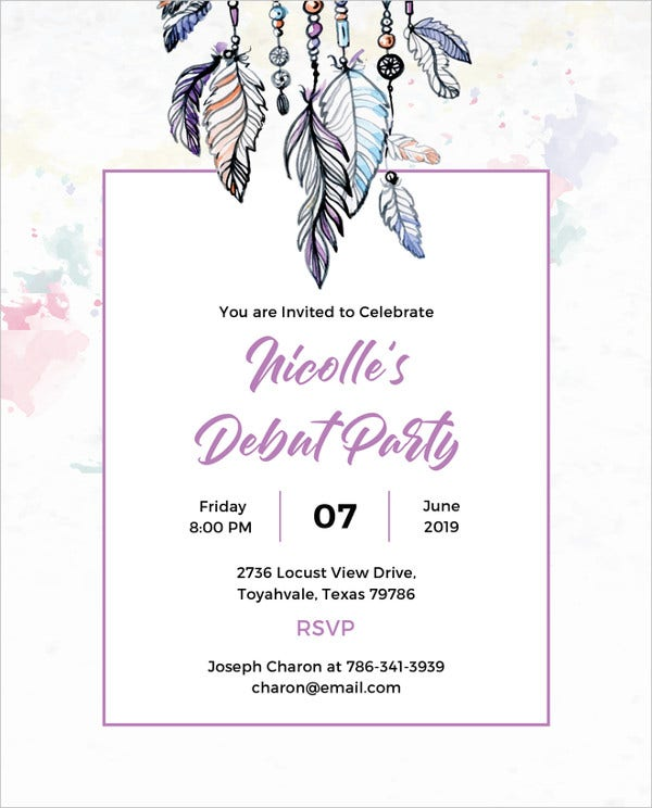 27 debut invitation templates psd ai vector eps free boho debut invitation template stopboris Choice Image