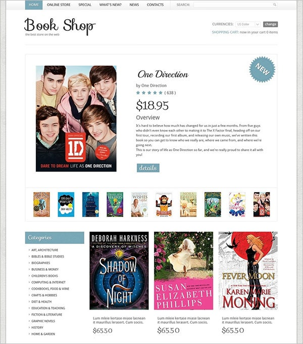 book shop virtuemart template