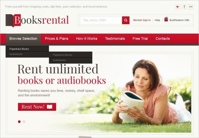 book store psd template 788x546